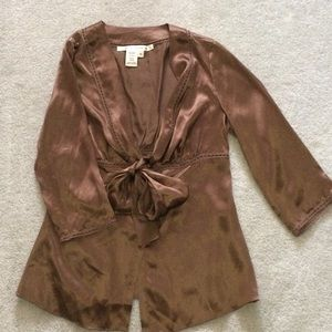 Max Studio Brown Silk Top